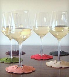 Hibiscus Coasters and Wine Glass Taggers - Pink & Green