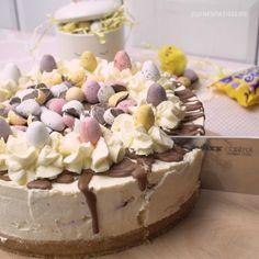 Mini Eggs Recipes, Easter Recipes, Sweet Recipes, Baking Recipes, Easter Cheesecake, Mini Chocolate Cheesecake, Easy Cheesecake Recipes, Chocolate Drizzle, Easter Chocolate