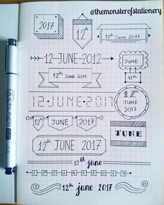 Hi everyone! Here are some #datedoodles in my first #clairefontaine #notebook! I love that the squares are orange so that the doodles come…