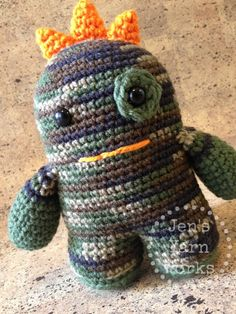 He's ready to hunt for lost goldfish crackers and cheerios with your little! ;) Ready to ship, $14.50 -Jen's Yarn Works-