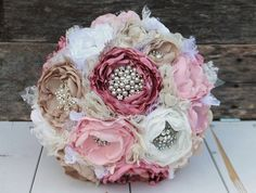 Heirloom brooch bouquet. Fabric peony flowers in dusty rose,blush, champagne and white. Jane Austin inspired.