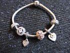 Authentic  Pandora 7.5 Inch Bracelet 6 Charms