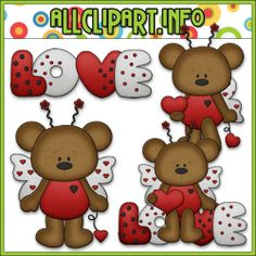 Love Bug Bears Clip Art - $1.00 : Welcome to AllClipART.info!, We offer High Quality COMMERCIAL USE Graphics for Teachers, Crafters  Scrapbookers. Clip Art Graphics, Printable Paper Crafts, CU/PU Kits, Digital Stamps, Digital Papers  Free Downloads! Available in downloadable jpg  png formats.
