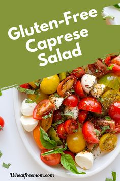 This gluten-free simple Caprese Salad is refreshing and delicious. A perfect salad to bring to a bbq or family gathering. Pick up some fresh local tomatoes, add some mozzarella balls and a drizzle of good balsamic vinegar to this easy summer salad. Salad Recipes Gluten Free, Meal Recipes, Easy Summer Salads, Summer Recipes, Bbq Salads, Varieties Of Tomatoes, Small Tomatoes, Free Meal, Free Summer