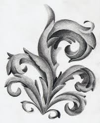 Design Baroque Sculpture, Wood Sculpture, Z Tattoo, Mediterranean Plants, Ornament Drawing, Leaf Images, Real Plants, Line Drawing, Drawing Art