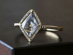 Image of Natural Pave Diamond Slice Ring-18kt