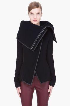 GARETH PUGH black oversize collar a-symmetric leather-trimmed jacket