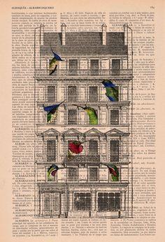 Vintage book print Bird House