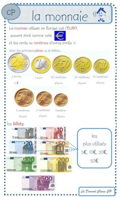 la monnaie leçon CP 1st Grade Math Worksheets, French Classroom, Cycle 3, Teaching Kids, Euro, Homeschool, Activities, Learning, Courses