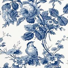 Thibaut Toile Portfolio - Isabelle - Fabric - Blue on White
