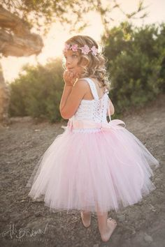 Beach flower girl tutu dress crochet tutu dress pink tutu by Qt2t