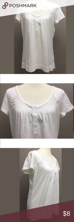 """Eddie Bauer Off White Knit Top Women's Off White 100% Cotton Knit Top Short Sleeve  In great condition  Size Large  Neckline enhances with embroidery and part snap up  Approximate measurements taken laying flat  Armpit to armpit 20"""", & length 25.5 Arrives clean and ready to wear from a smoke free environment Eddie Bauer Tops"""