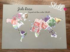 Hochzeit - Geldgeschenk *Weltkarte* Jede Reise beginnt... - ein Designerstück von Still-Love bei DaWanda