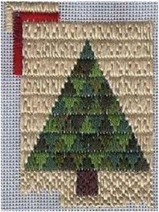 Trianglepoint Christmas Tree Ornament designed by needlepoint expert Janet M. Perry