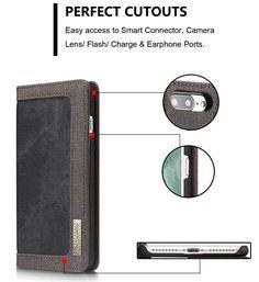 CaseMe 006 iPhone 7 Plus Canvas Wallet PU Leather Stand Case Black