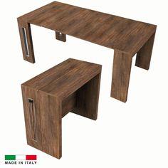 Table console extensible Grazia 3 allonges intégrées noyer