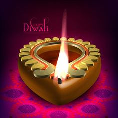 Free Vector of Victorian style glowing flame on festival of happy Diwali with floral art pink background