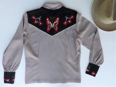 Gray w/ black yokes and cuffs Butterfly Flowers, Butterflies, Vintage Western Wear, Western Shirts, Chain Stitch, First Photo, 1940s, Wool Blend, Cuffs