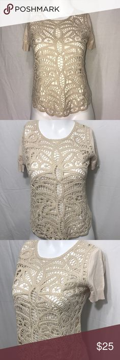 BCBG MAXAZRIA top So cute and so chic. With a beautiful woven lace design on the front. BCBGMaxAzria Tops