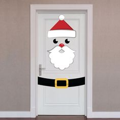 Door Wrap: Santa - X-Large Christmas Removable Wall Decal Enveloppe de porte: Sticker mural amovible Diy Christmas Door Decorations, Christmas Classroom Door, Christmas Art, Simple Christmas, Christmas Ornaments, Holiday Crafts, Holiday Decor, Diy Weihnachten, Removable Wall