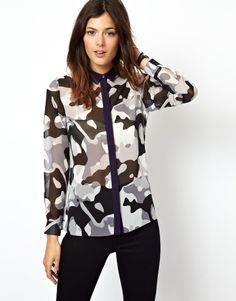 ASOS Shirt in Camoflage Print with Contrast Collar