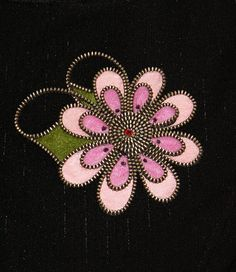 Gerbera designer zipper and felt handmade brooch with a Swarovski rhinestone.
