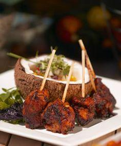 Grilled Jerked Chicken Skewers With Mango Salsa. #Jamaica #Travel #Foodie