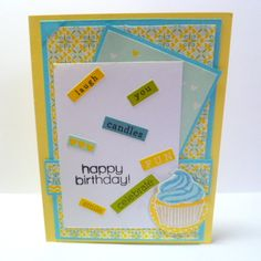 "DS108 Deconstructed Sketch 108 w/ SSS July 2013 Card Kit - Stamps: Simon Says Exclusive ""Summer Party""; Cardstock: Bazzill ""Sour Lemon"", Recollections aqua; Patterned Paper and Word Stickers: Lily Bee ""Sweet Shop""; Ink: Versafine Onyx Black; VersaMagic Wheat;, Hero Arts Butter Bar, Soft Pool, Pool. Accessories: Stickles."