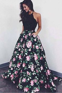 High Quality Halter Ball Gown Floral Backless Black Long Prom Dress 2017