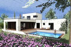 plan en L contemporain KANSAS – Architektur Modern Bungalow House, Modern House Plans, Morden House, Modern Villa Design, Small Modern Home, House On The Rock, Container House Design, Stone Houses, Kansas