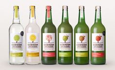 Gorgeous labels for Cornish Orchards cider & fresh juice. Great character per variety.