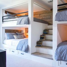 Bunk beds design and room ideas. Most amazing bunk beds for kids. Designing bunk beds that you might like. Bunk Beds Built In, Bunk Bed Rooms, Bunk Beds With Stairs, Adult Bunk Beds, Teen Bunk Beds, Loft Bedrooms, Bed Stairs, Modern Bunk Beds, Cool Bunk Beds
