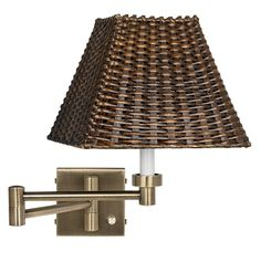 Antique Brass with Wicker Shade Plug-In Swing Arm Wall Lamp -