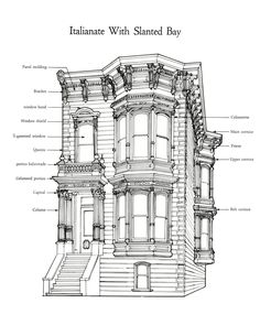 Style: Italianate Location: San Francisco – Architecture is art Arche Architecture, Architecture Romane, Romanesque Architecture, Cultural Architecture, Classic Architecture, Victorian Architecture, Architecture Drawings, Residential Architecture, Interior Architecture