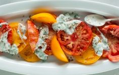 Heirloom Tomato Salad with Basil-Yogurt Drizzle