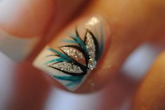 pretty! teal, black, silver nail art on white french tip