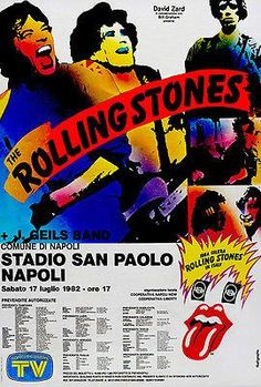 The Rolling Stones - J Geils Band - Naples Italy - 1982 - Concert Poster