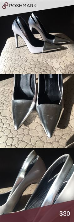 Zara women's heels with silver tips Silver and gray heels.  Few scuffs on front.  Worn but great condition. Zara Shoes Heels