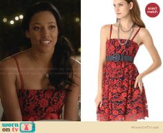 Lacey's red and navy floral embroidered dress on Twisted. Outfit Details: http://wornontv.net/28459 #Twisted #fashion