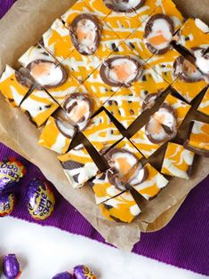 Learn how to make Creme Egg fudge with this super simple and easy recipe. This slow cooker fudge recipe uses your crock pot and just 3 ingredients! Fudge Recipes, Candy Recipes, Chocolate Recipes, Baking Recipes, Snack Recipes, Snacks, Chocolate Fudge, Sweet Recipes, Yummy Recipes