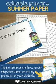 Students can practice handwriting with this fun seasonal paper packet. This lined paper is completely editable! Great for sentence starters, writing prompts, or custom reading responses. You can also leave the lines completely blank to use simply as lined paper. The lined paper is available with several options : - space for illustration - 14 black and white borders - 3 colored borders - portrait and landscape paper Teaching Writing, Writing Prompts, Teaching Resources, Sentence Starters, Reading Response, Writing Paper, Childhood Education, Sentences, Student
