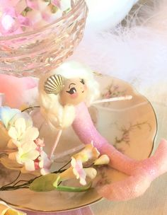 Mermaid ornament pink ornament mermaid doll posable bendable party decor party favor ooak art doll blond mermaid vintage retro inspired by sugarcookiedolls on Etsy https://www.etsy.com/listing/289916759/mermaid-ornament-pink-ornament-mermaid
