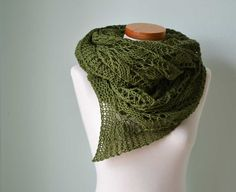 Lace knitted shawl green  H763. $95.00, via Etsy.