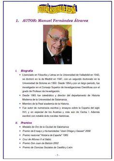 Un honor presentaros a D. Manuel Fernández Álvarez, maravilloso historiador, autor de esta magnífica obra y de otras. Fijaros en las NUMERACIONES Y VIÑETAS. Quien se acuerde cómo se hace, que escriba también al lado de su foto...