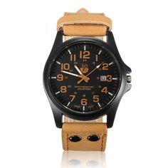 Sale 28% (4.99$) - Men Casual PU Leather Band Date Sport Analog Quartz Wrist Watch