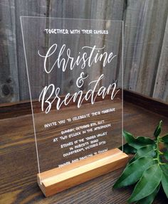 Acrylic Wedding Invitation. Acrylic Invite Sign. Calligraphy Signage. Hand-lettered Event Invitation. Unique Wedding Invitation. by FoxAndHart on Etsy