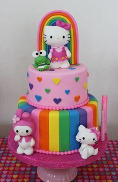 Hello Kitty rainbow birthday p. Hello Kitty Torte, Bolo Da Hello Kitty, Hello Kitty Birthday Cake, Rainbow Birthday Party, Birthday Parties, 5th Birthday, Birthday Cakes, Birthday Ideas, Super Torte