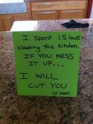 Don't walk on my freshly mopped floor or face dire consequences.  I'm SO doing this.