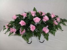 Beautiful Pink Roses Silk Flower Cemetery Tombstone Saddle, $35.99