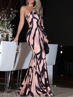 Shop Evening Dresses Digital Print One Shoulder Mermaid Dress Trend Fashion, Womens Fashion, Fashion Top, Ladies Fashion, Fashion Ideas, Fishtail Dress, Dress Up, Bodycon Dress, Knit Dress
